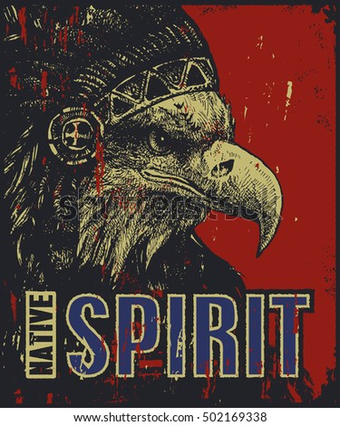 native American poster, eagle in war bonnet, vector illustration