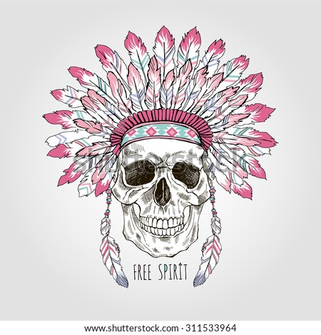 native american scull in war bonnet, hand drawn graphic, t-shirt design - stock vector