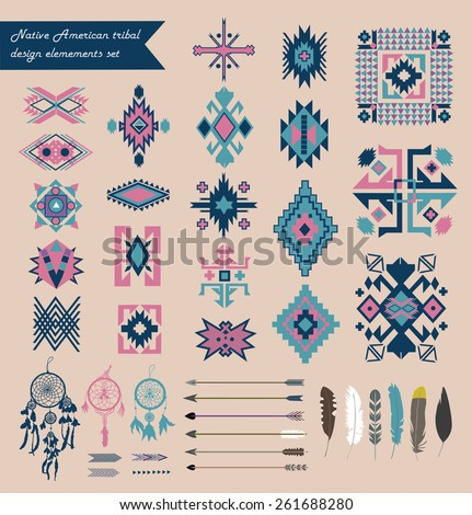Native American tribal design elements set. Isolated. Vector. - stock vector