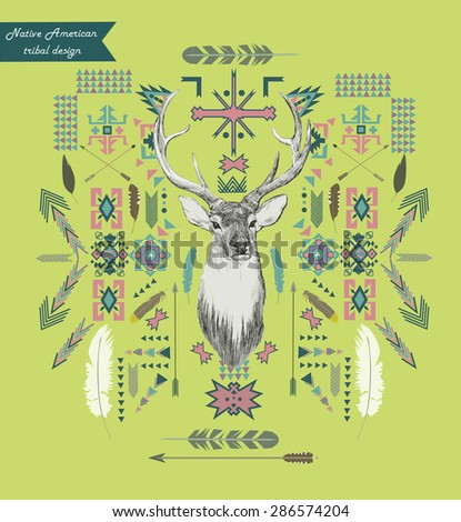 Native American tribal style composition. Hipster art, Ethnic design. Can be used as print, pattern element, card, flayer, invitation, etc. Editable. - stock vector