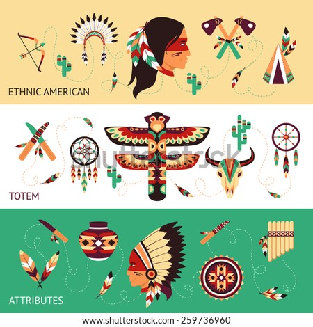 Native american tribes traditional protective ethnic totems and attributes historical concept horizontal banners set abstract vector illustration - stock vector