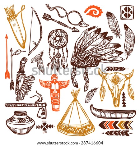 Native americans set with hand drawn feathers headband and traditional patterns isolated vector illustration - stock vector