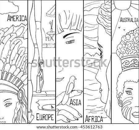Native Girls 5 Continents Asia Africa Stock Vector 453612763 ...