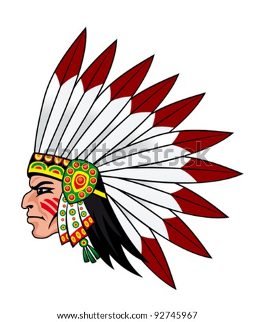 Native indian people with feathers on the head for mascot and emblems - stock vector