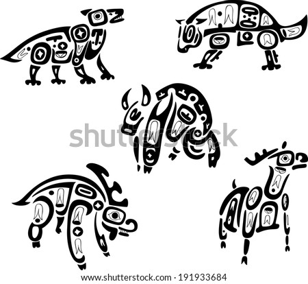 Native indian shoshone tribal drawings. Animals. Vector set.