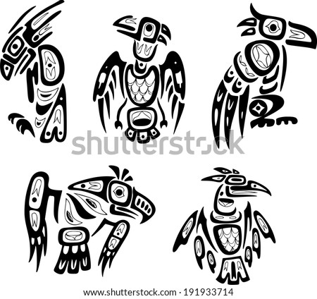 Native indian shoshone tribal drawings. Eagles. Vector set.