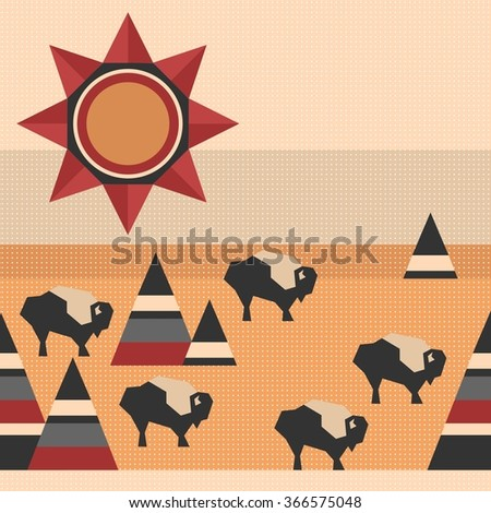 native indian style repeating pattern with sun, mountains and buffaloes - stock vector