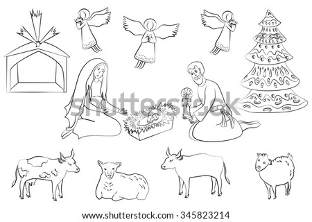 Native scene set. Elements for your design. Manger scene set. Virgin Mary, Joseph, Jesus Christ, xmas tree, angels, and cute animals. - stock vector