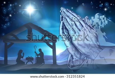 Nativity Christian Christmas scene of baby Jesus in the manger with Mary and Joseph and praying hands - stock vector