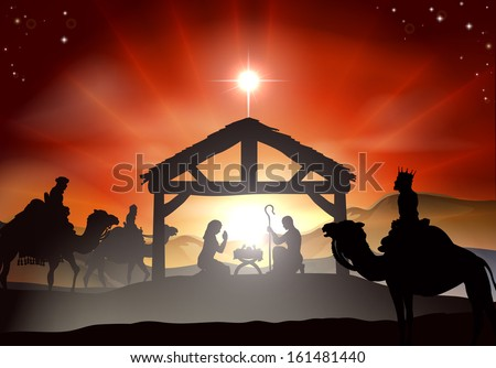 Nativity Christmas scene with baby Jesus in the manger in silhouette, three wise men or kings and star of Bethlehem - stock vector