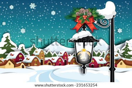 Nativity in the snow  Country rural background- Transparency blending effects and gradient mesh-EPS 10 - stock vector