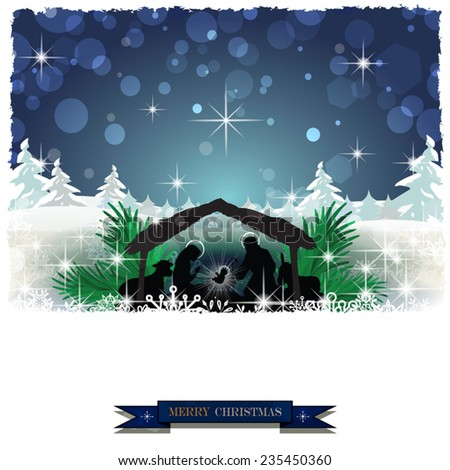 Nativity in the snow with pine trees and Christmas decorations-Transparency blending effects and gradient mesh-EPS 10 - stock vector