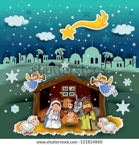 Nativity of landscape collage effect - transparency and blending effects gradient mesh-EPS 10 - stock vector