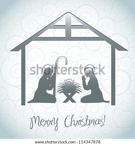 nativity scene card over ornament background. vector illustration - stock vector