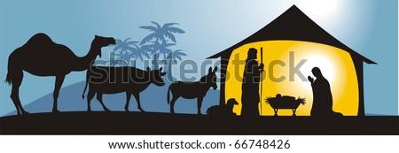 nativity scene in vector format, fully editable - stock vector