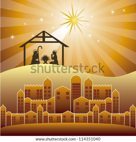 nativity scene over evening background. vector illustration - stock vector