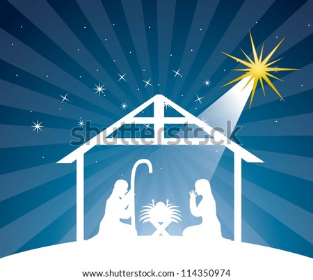 nativity scene over night background. vector illustration - stock vector