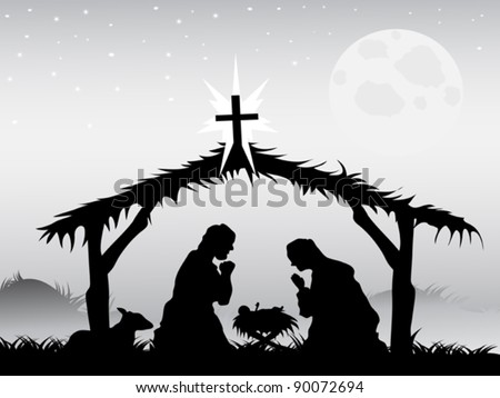 nativity scene,vector - stock vector