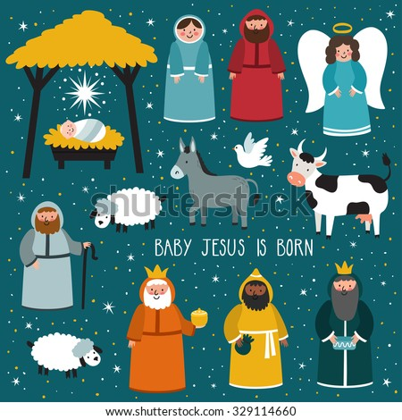 "Nativity scene. Vector set of cute people, animals. Holiday background with text ""Baby Jesus is born"" - stock vector"
