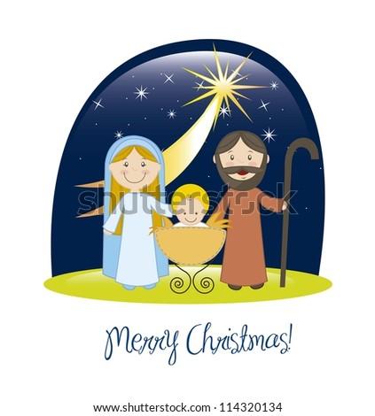 nativity scene with star, christmas card. vector illustration - stock vector