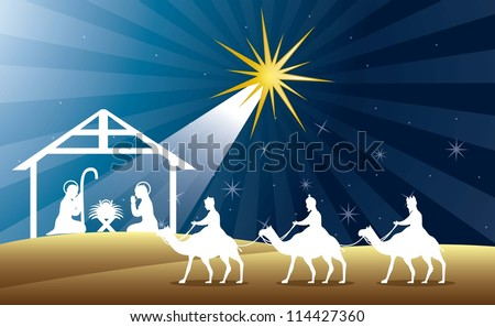nativity scene with wise men over night background. vector - stock vector