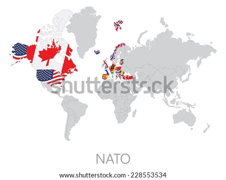 Nato on world map on white background - stock vector