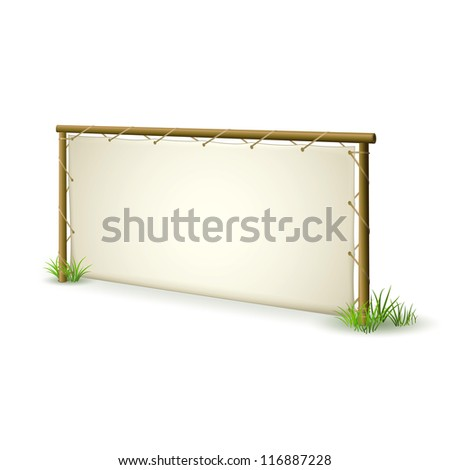 Natural Advertising Sign Panel made from Wood and Leather on White Background - stock vector