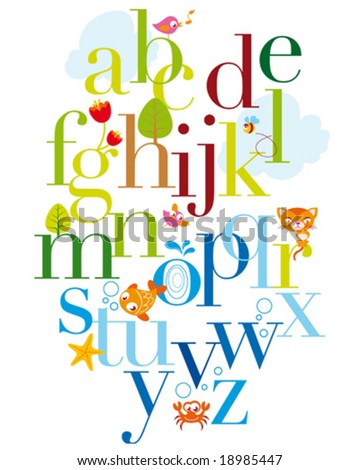 natural alphabet - stock vector