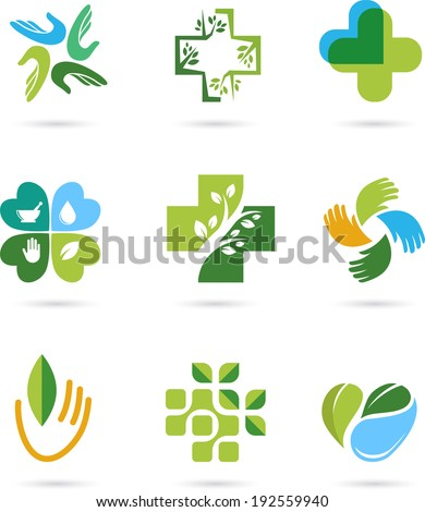 Natural Alternative Herbal Medicine and Healthcare icons and element set - stock vector