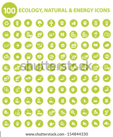 Natural and Ecology icons,Green version,vector - stock vector