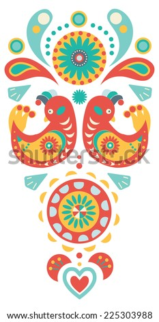 Natural and floral background, colorful ornament with birds - stock vector