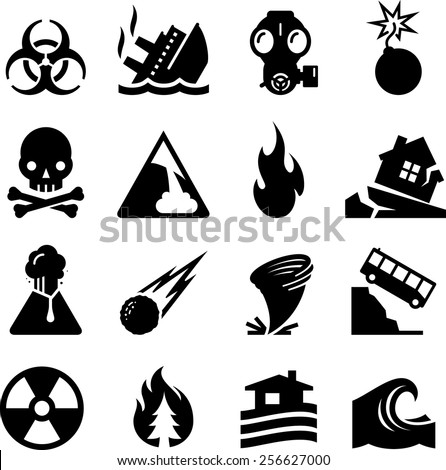 Natural and man made disasters. Vector icons for digital and print projects. - stock vector