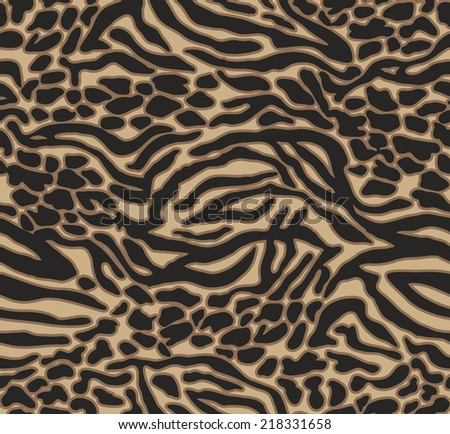 natural animal mix ~ seamless vector background - stock vector