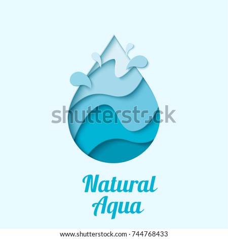 Natural aqua - water drop logo design template. Vector abstract waterdrop with splash paper cut style logotype. Save water - ecology concept.