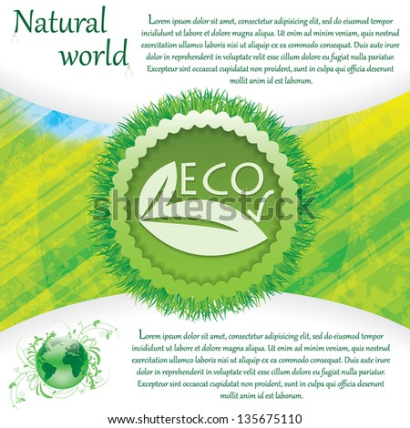 Natural background eco sign green - stock vector