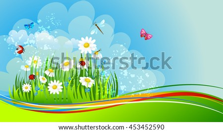 Natural background with daisies - stock vector
