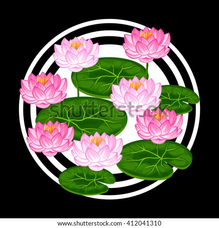 Natural background with lotus flowers and leaves. Image for design on t-shirts, prints, decorations brochures, websites.