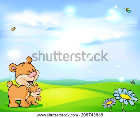 natural background with sky, green meadow flower and bear - stock vector
