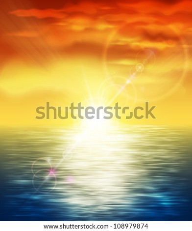 Natural background with sunset at sea. Eps 10 - stock vector