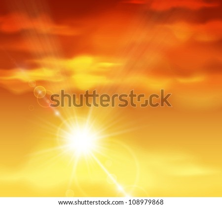 Natural background with sunset. Eps 10 - stock vector