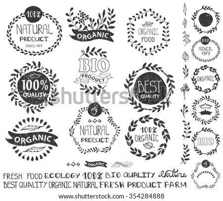 Natural,bio,eco logotype creator.Vector green ecology logo,badge,labels,sticker set,ribbons,isolated elements,laurel wreath,frame,lettering title.Floral Organic design template,menu.Hand drawing stamp - stock vector