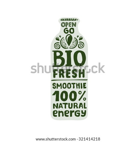 Natural bio energy drink - smoothie packaging template - stock vector