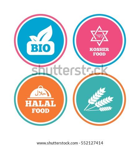 Natural Bio Food Icons Halal Kosher Stock Vector 619795238 ...