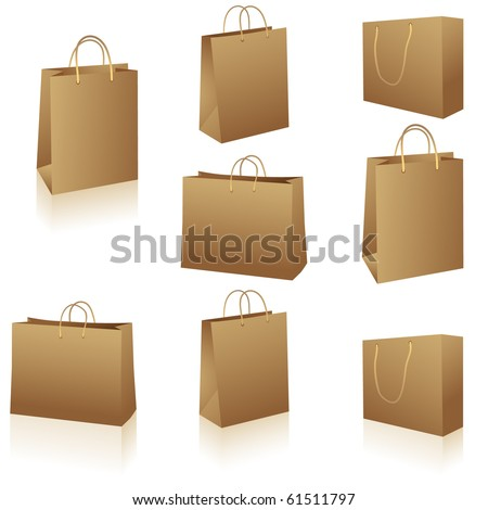Natural brown paper shopping bags isolated on white vector - stock vector