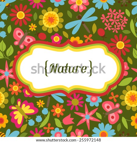 Natural card with beautiful simple flowers, beetles and butterflies. - stock vector