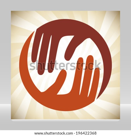 Natural caring hands design.  - stock vector