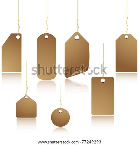 Natural colored blank paper price tag. Vector