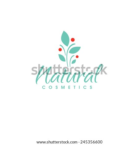 Natural cosmetics logo design vector template. Green herb with red berries - stock vector