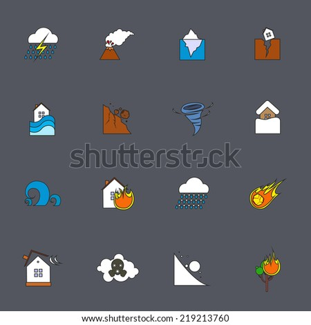 Natural disaster accident environmental catastrophe icons flat line set isolated vector illustration - stock vector