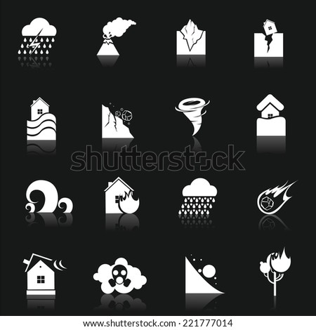 Natural disaster danger white icons set with thunderstorm volcano earthquake isolated vector illustration - stock vector